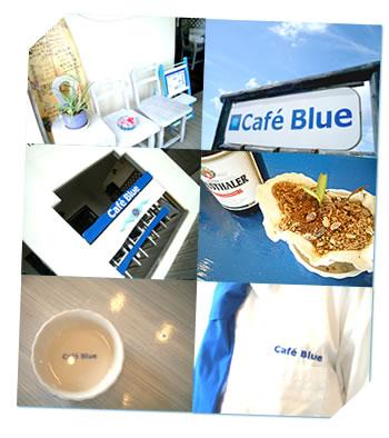 写真:青と白で統一された店内及び外観