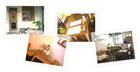 写真:Cafe Oeuf(ウフ)の入り口、温かみのあるグリーンが中央に配置