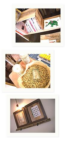 写真:Cafe Oeuf(ウフ)の絵本とコーヒー豆