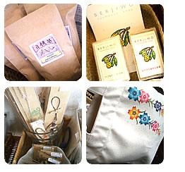 写真:なごみ家にぴったりマッチした雑貨、沖縄関連グッズ。お値段もお手ごろ価格から~