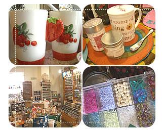 写真:手づくり雑貨グリーンティーでは陶器も扱っている。パーツ販売有り